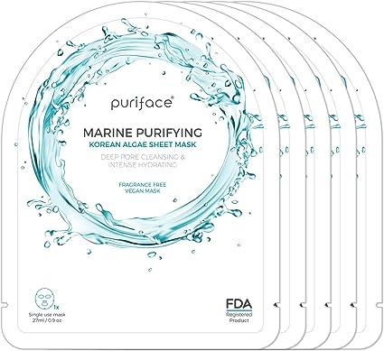 Puriface Coreana registrada en la FDA para el cuidado de la piel Mascarilla marina purificante vegana hidratante [hidratante/tratamiento antioxidante/rejuvenecimiento] - paquete de 5 unidades: Amazon.es: Belleza