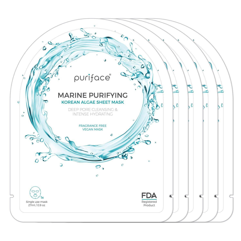 Sheet Mask [Puriface][Marine Purifying] Vegan FDA Registered Korean Beauty Facial Skin Care Hydrating Masque [Cleansing/Paraben Free/Pore Minimizing] - 5 Pack iMODE