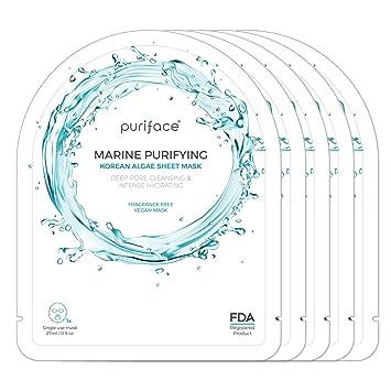 Puriface [Marine Purifying] Sheet Mask - Cleansing/Paraben Free/Pore  Minimizing Vegan Facial Masks - 5 Pack