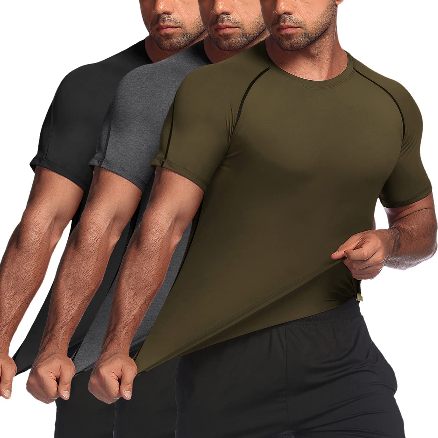 Men/'s Breathable Gym T-Shirts Compression Bodybuilding Fitness Muscle Clothes