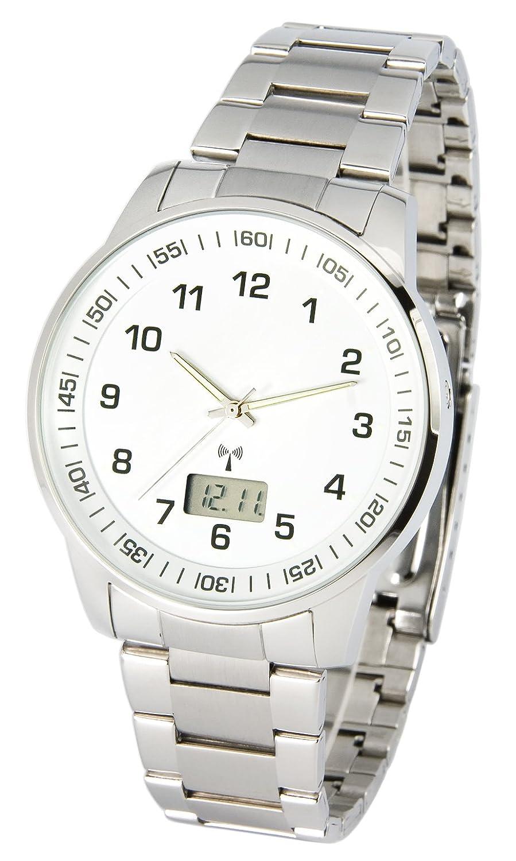 Elegante MARQUIS Herren Funkuhr (Junghans-Uhrwerk) GehÄuse und Armband aus Edelstahl 964.6908
