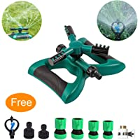 MODAR Lawn Sprinkler, Automatic 360 Rotating Adjustable Garden Water Sprinklers Lawn Irrigation System Covering Large Area with Leak Free Design Durable 3 Arm Sprayer, Easy Hose Connection