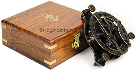 5 Triangular Beautiful Nautical Sundial Compass with Level Meter Encased in Genuine Rosewood Anchor Inlaid Case Maritime Decor Gifts