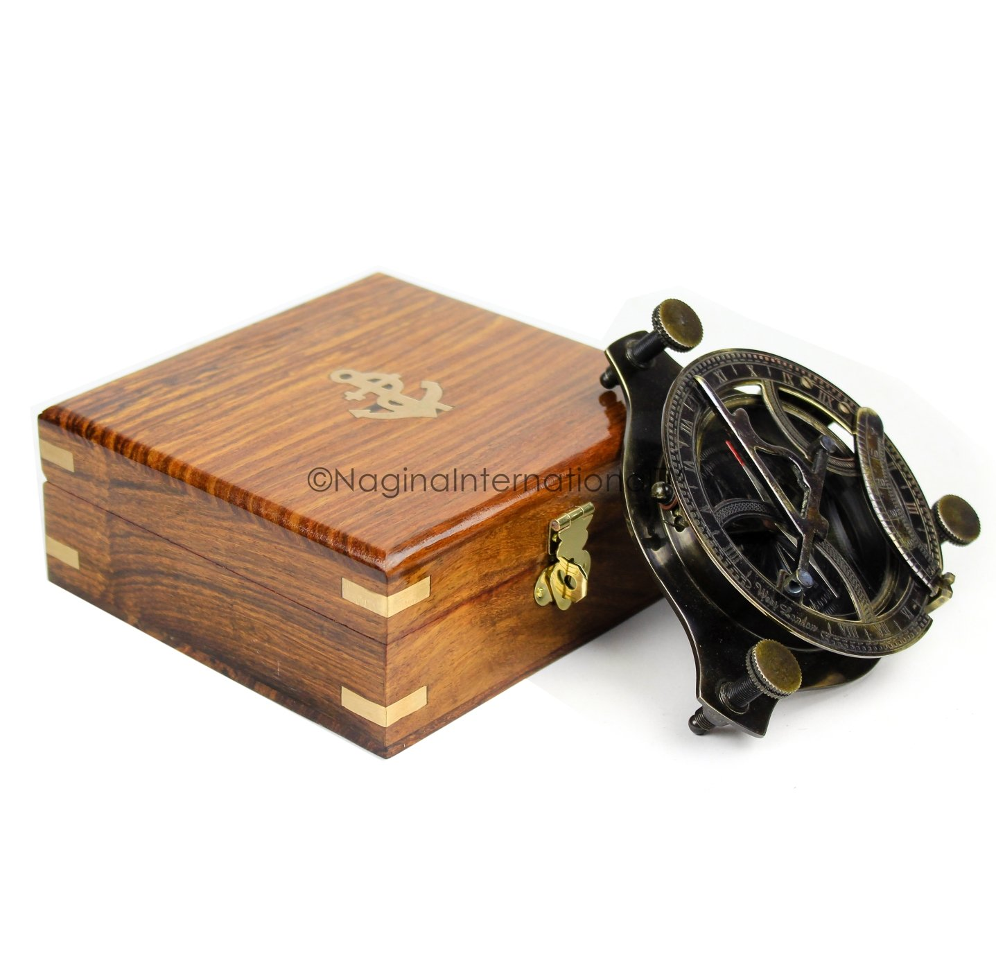 Nagina International 5'' Triangular Beautiful Nautical Sundial Compass With Level Meter Encased In Genuine Rosewood Anchor Inlaid Case | Maritime Decor Gifts (Antique Brass) by Nagina International