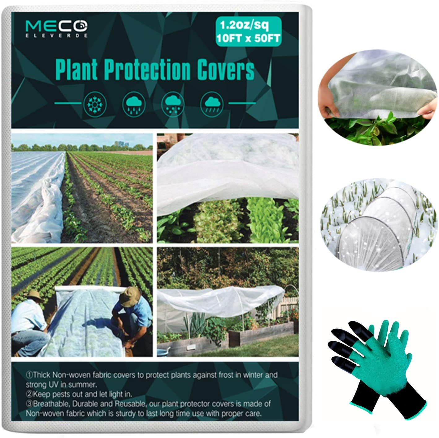 MECO Plant Covers with Garden Gloves, 10 ft x 50 ft Floating Row Cover Fabric Freeze Protection, Winter Frost Cover Anti-Freeze Jacket Warm Blanket for Season Extension, Frost Protection