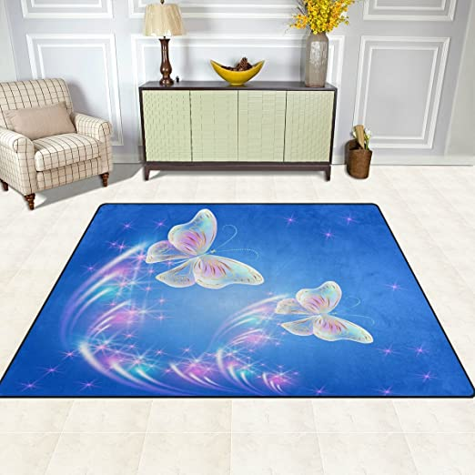 Butterfly Vintage Print Carpet Super Soft Large Non-Slip for Living Room Hall Dinner Table Home Decor 48 x 63 inch FFY GO Area Rug