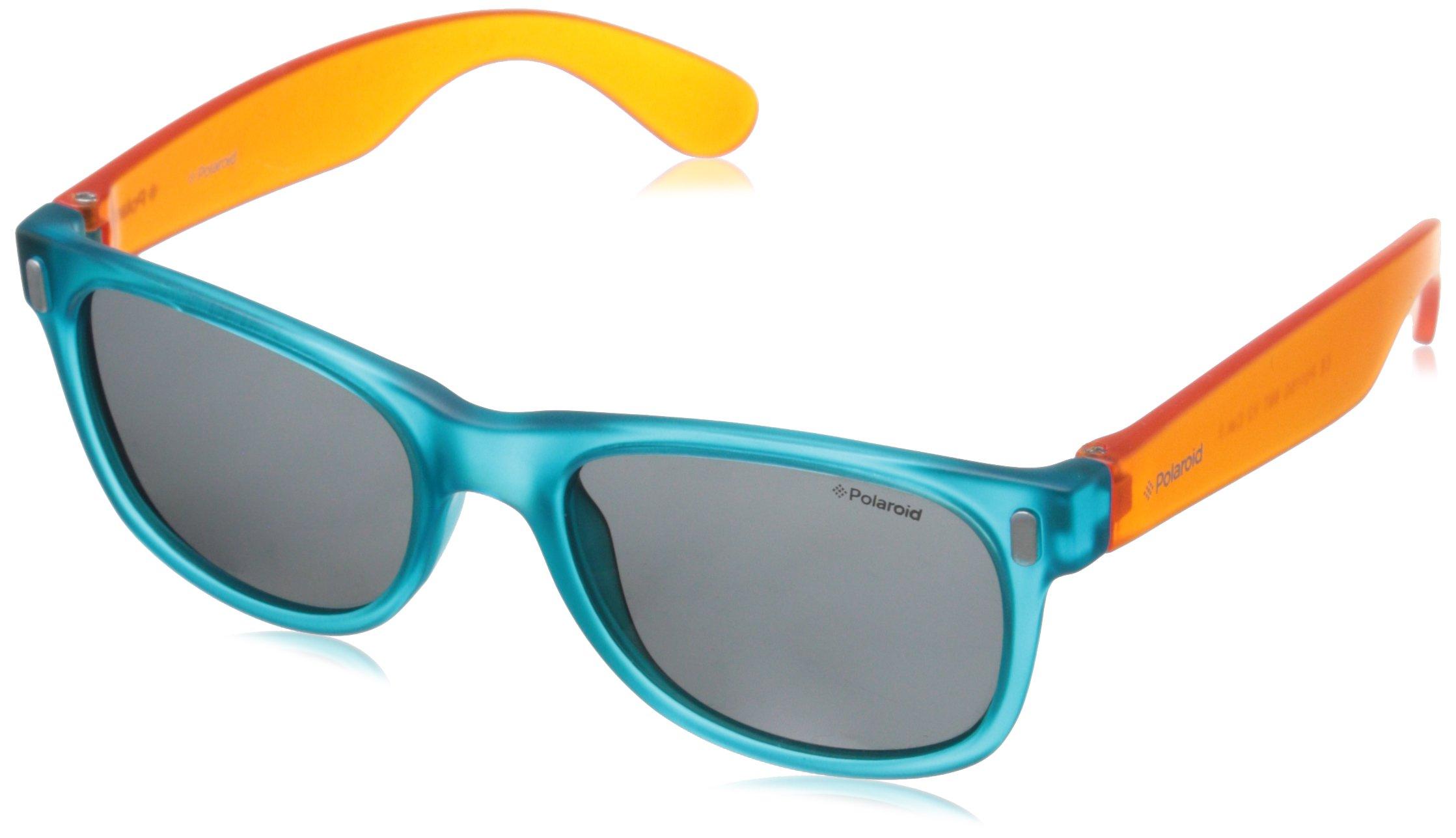 Polaroid Sunglasses Boy's P0115s Polarized Rectangular Sunglasses, B-BLUE ORANGE, 46 mm