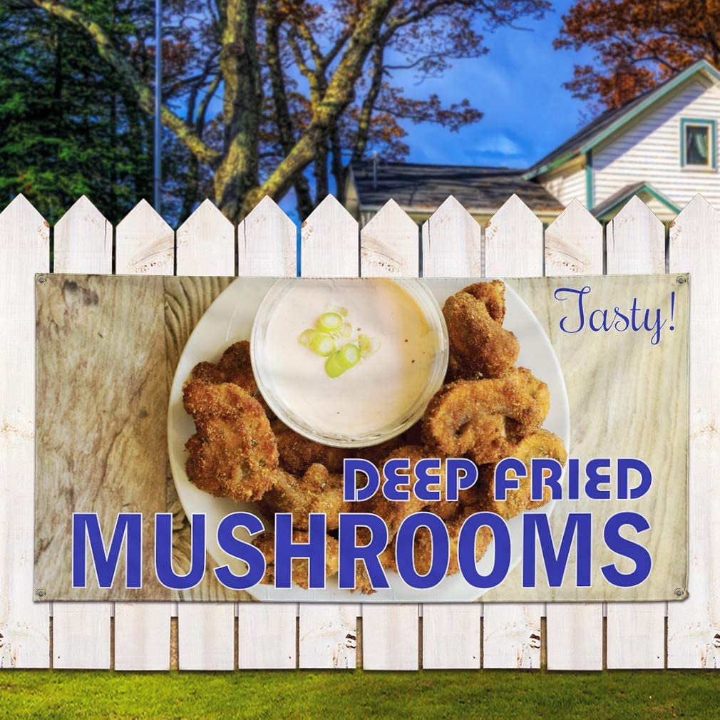 Multiple Sizes Available Set of 2 Deep Fried Mushrooms #1 Outdoor Marketing Advertising White 6 Grommets Vinyl Banner Sign Tasty 32inx80in