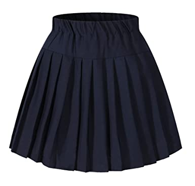 1f3728def4 Genetic Women's Plaid Double Layers Elasticated Pleated Skirt(M,Navy Blue)