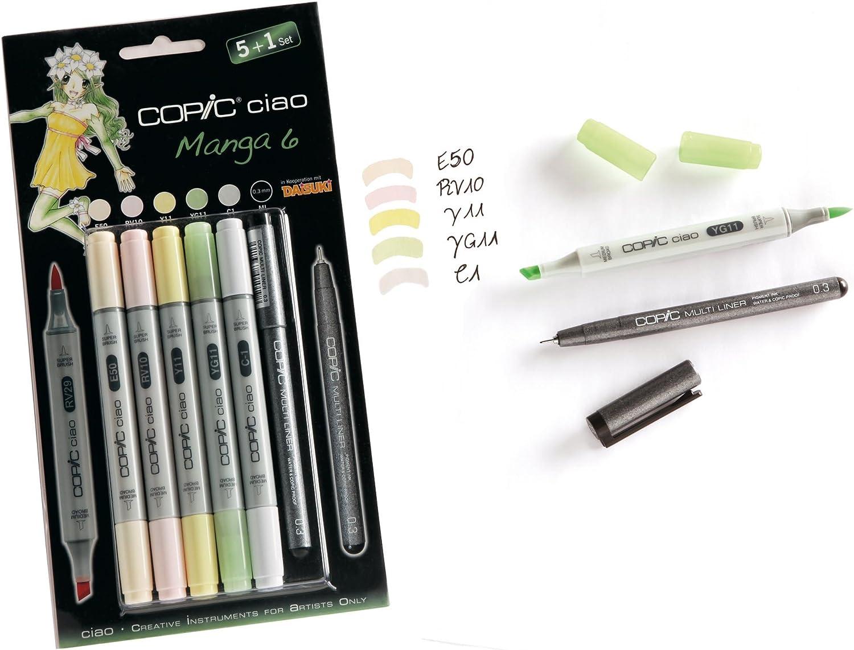 Copic Ciao - Juego de rotuladores (5 unidades, doble punta, incluye rotulador de punta fina 0,3 mm, para dibujar manga), tonos brillantes: Amazon.es: Oficina y papelería