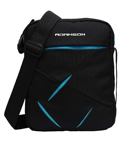 Adamson Men Black and Blue Polyester sidebag (ASB-025)