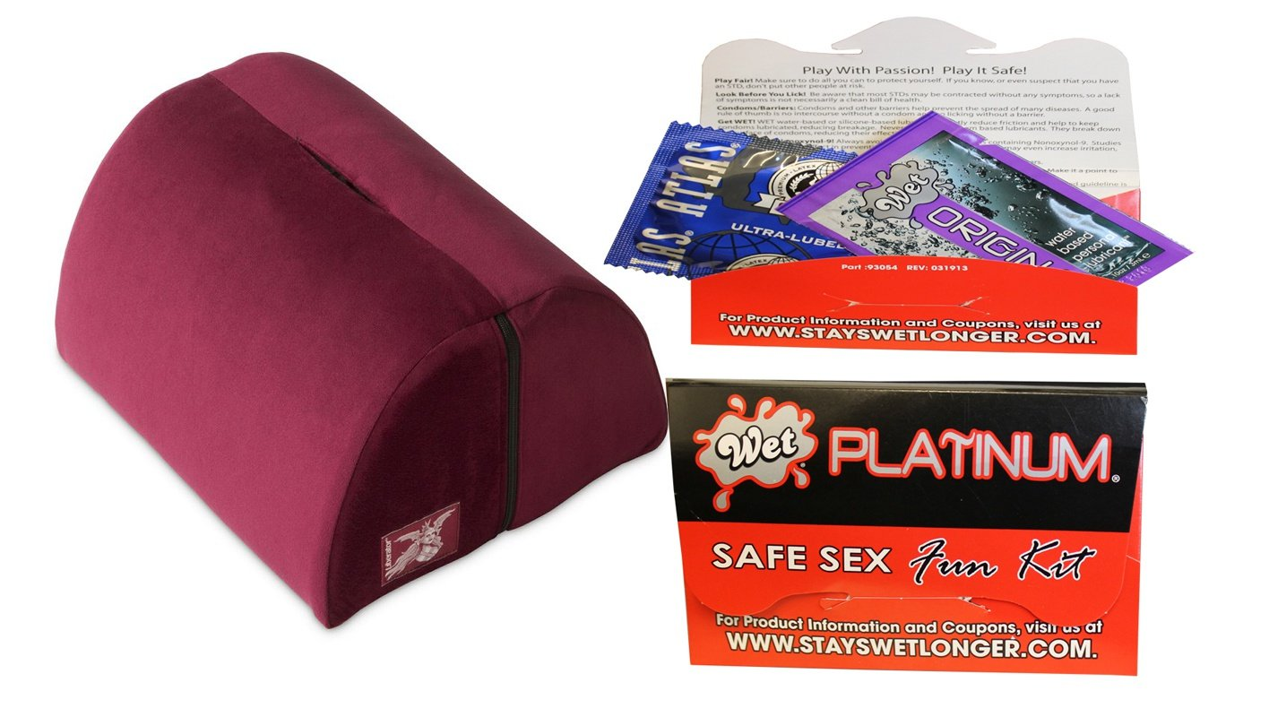 Bundle package 1 Liberator BonBon Sex Toy Mount Merlot AND 1 Wet Safe Sex Kit with Platinum Silicone Lubricant by Oneup Innovations, Inc