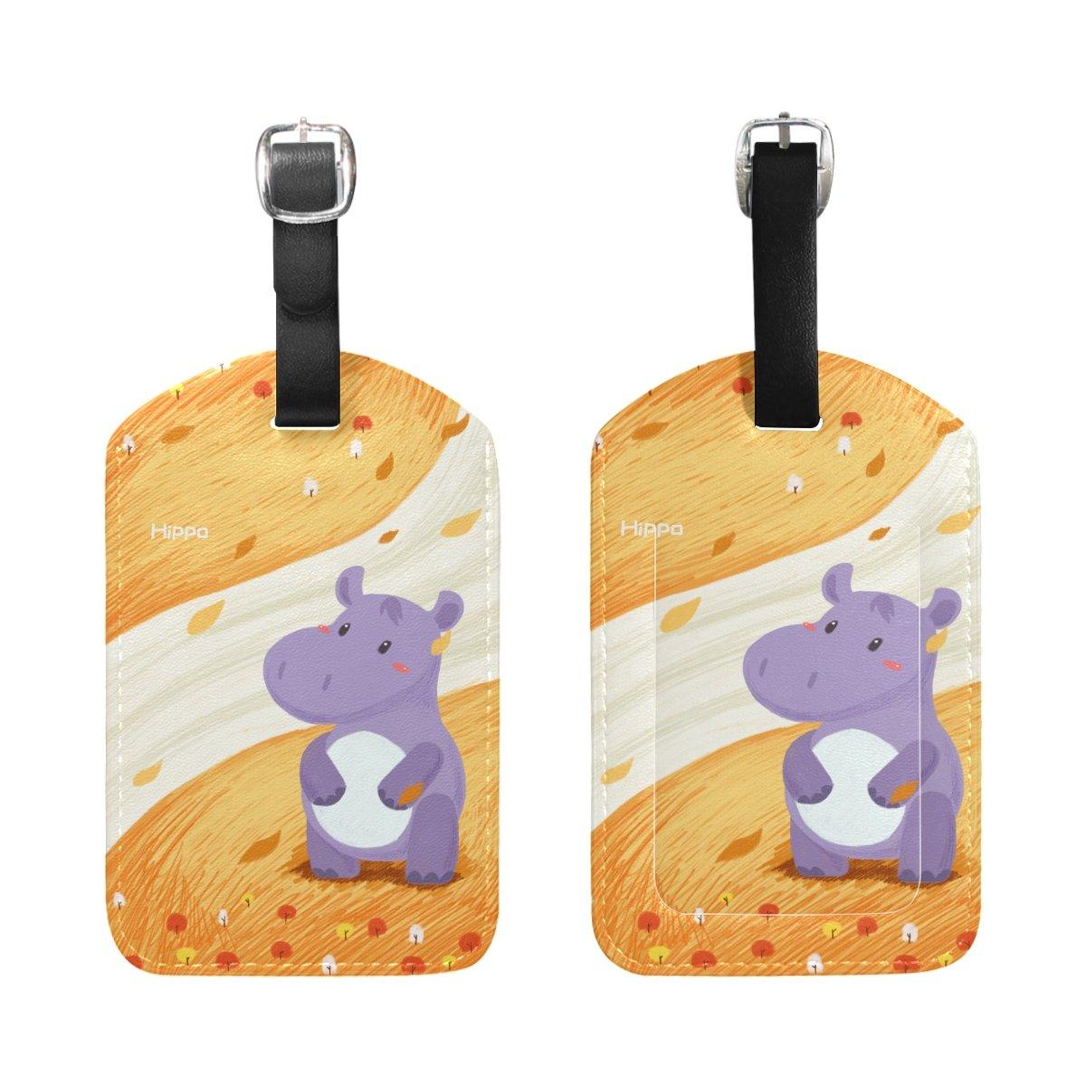Saobao Travel Luggage Tag Hippo PU Leather Baggage Suitcase Travel ID Bag Tag 1Pcs