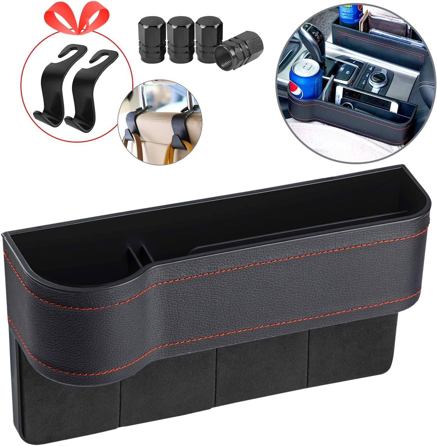 for Cellphone,Wallet Console Side Pocket 2 Packs Premium PU Black Car Seat Gap Filler,No Deformation,Environmentally Friendly Materials Various Cards(Include 4 car seat Back Hooks) Cup Holder