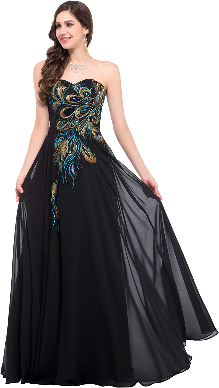 GRACE KARIN Bandeau Paillettenkleid Damen Abendkleid Bodenlang Chiffon Standesamtkleid