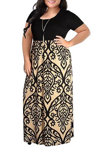 f5aa9fe5c9a1d Nemidor Women s Chevron Print Summer Short Sleeve Plus Size Casual Maxi  Dress at Amazon Women s Clothing store