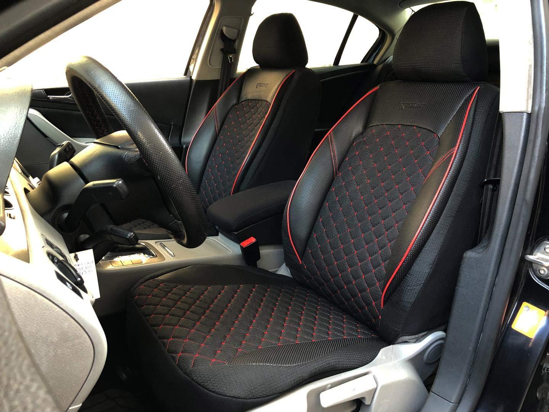 seatcovers by k-maniac Housses de Protection pour sièges d'auto V1204703 Noir-Rouge sièges Avant Applications en Similicuir Accessoires Automobiles