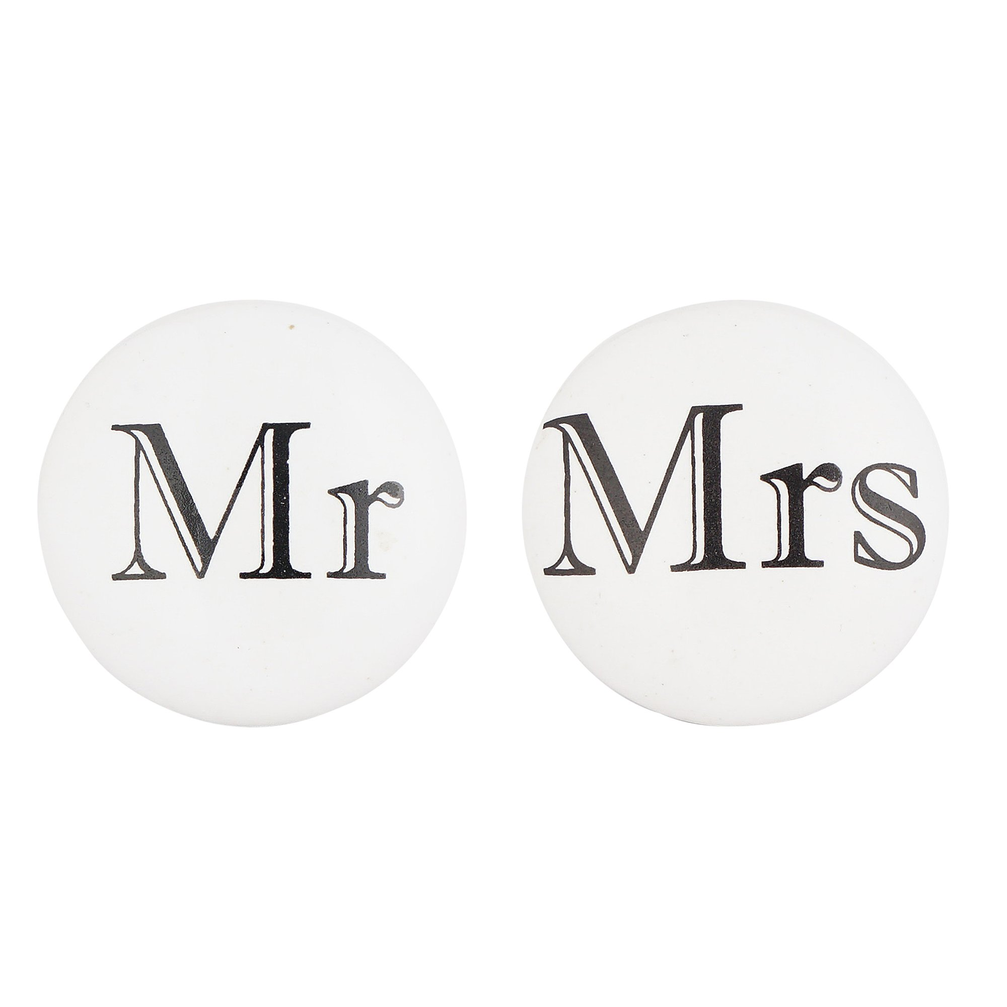 Set of 4 Mr and Mrs Knobs – Ceramic Drawer Pulls for Cabinets, Dressers and Drawers – Hand Painted Knobs for Bathroom, Bedroom, Kitchen, and Living Room Cabinetry by Artisanal Creations