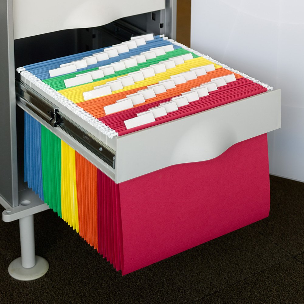 Filing cabinet folders Manilla Amazoncom Smead Hanging File Folder With Tab 15cut Adjustable Tab Letter Size Assorted Primary Colors 25 Per Box 64059 Office Products Amazoncom Amazoncom Smead Hanging File Folder With Tab 15cut Adjustable