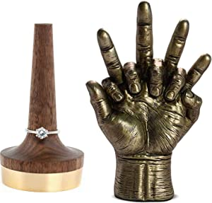 Lovers Hands Bronze Sculpture & Wooden Ring Holder For Jewelry | Value Pack | The Soulmate Statue Makes for The Perfect Couples Home Decor & Wedding for The Wife, Husband, Men, Women | Hand Sculptures