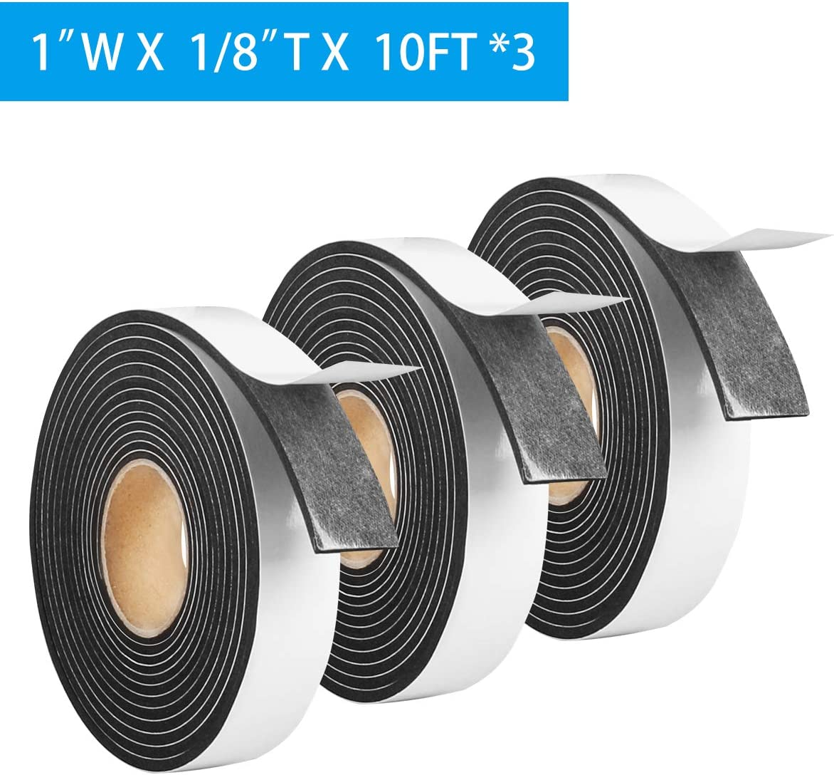 """Foam Tape Weather Stripping Window Seal,1""""Wx1/8""""T High Density Seal Strip,Adhesive Closed Cell Weather Strip(Total 30FT,Black)"""