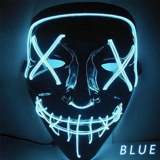Amazon.com Kangkang Halloween LED Light up Festival Cosplay Costume  Supplies Party Masks Glow in Dark (Blue) Home Improvement
