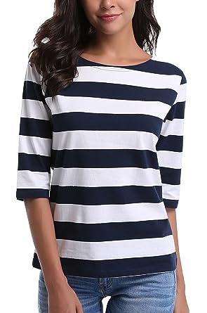 STRIR Camiseta para Mujer,Mujeres Originales Manga Larga Cuello Redondo Camiseta B/ásica Rayas Blusa T/única Tops