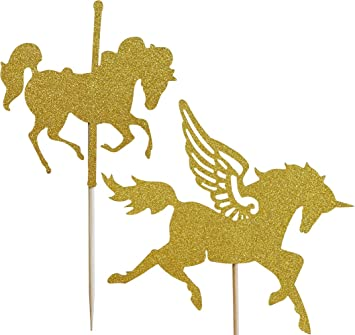 12-Pack Glitter Gold Carousel Horse Cupcake Toppers