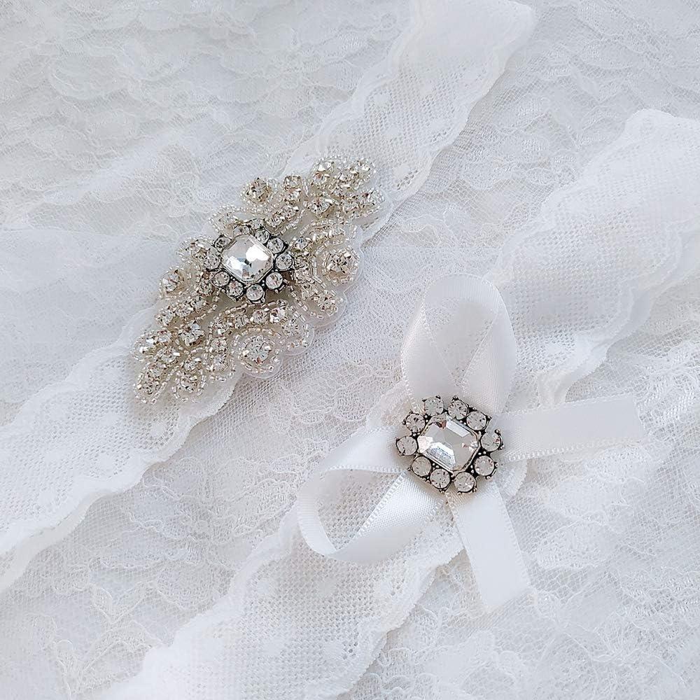 Kyoidy Jarreti/ère de mariage en dentelle blanche pour femme mari/ée Stretch avec d/écor de perles en cristal