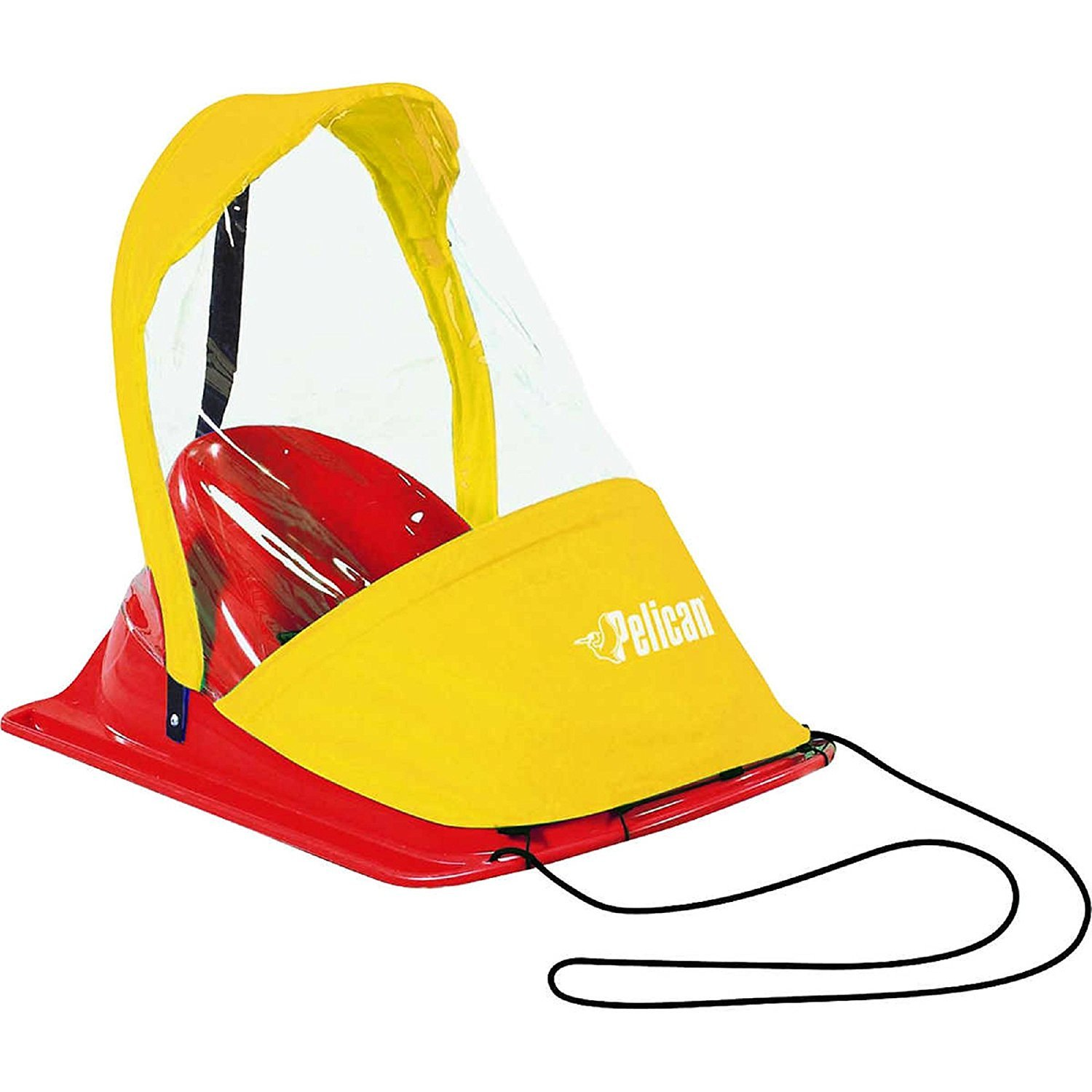 Pelican / Baby Sled Deluxe - Injection Moulded Plastic with HIGH BACKREST / WEATHER SHIELD with Zippered Opening / SAFETY HARNESS with ERGONOMIC SEAT and Pull rope: 0 - 24 months by Pelican