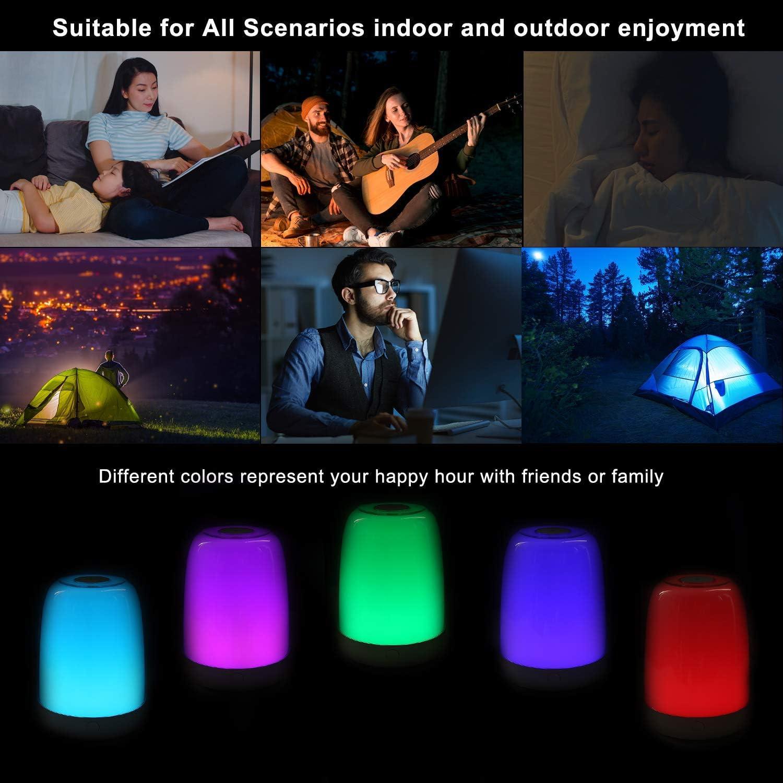 Sendowtek Luz nocturna para ni/ños Multicolor L/ámpara de mesa Camping Control t/áctil Alimentaci/ón USB para Sal/ón Oficina Dormitorio Luz LED para mesilla de noche para dormitorios