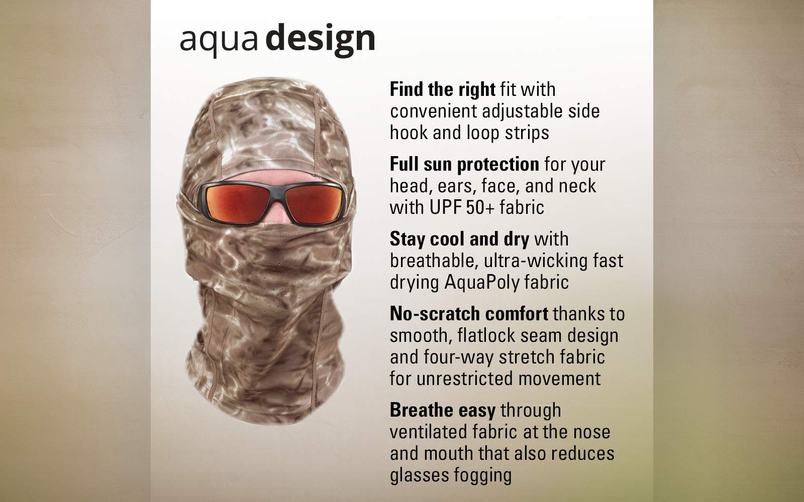 Aqua Design: Cool Weather Mens Face Mask UPF50+ Sun Wind Helmet Liner Balaclava: Pacific Sand by Aqua Design (Image #5)