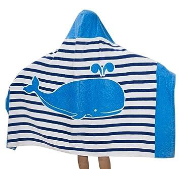 Zinsale Niños de Dibujos Animados de Playa con Capucha Toalla de Baño Poncho de Algodón Suave Manta de Albornoz de los Niños (Ballena Azul de la Raya): ...
