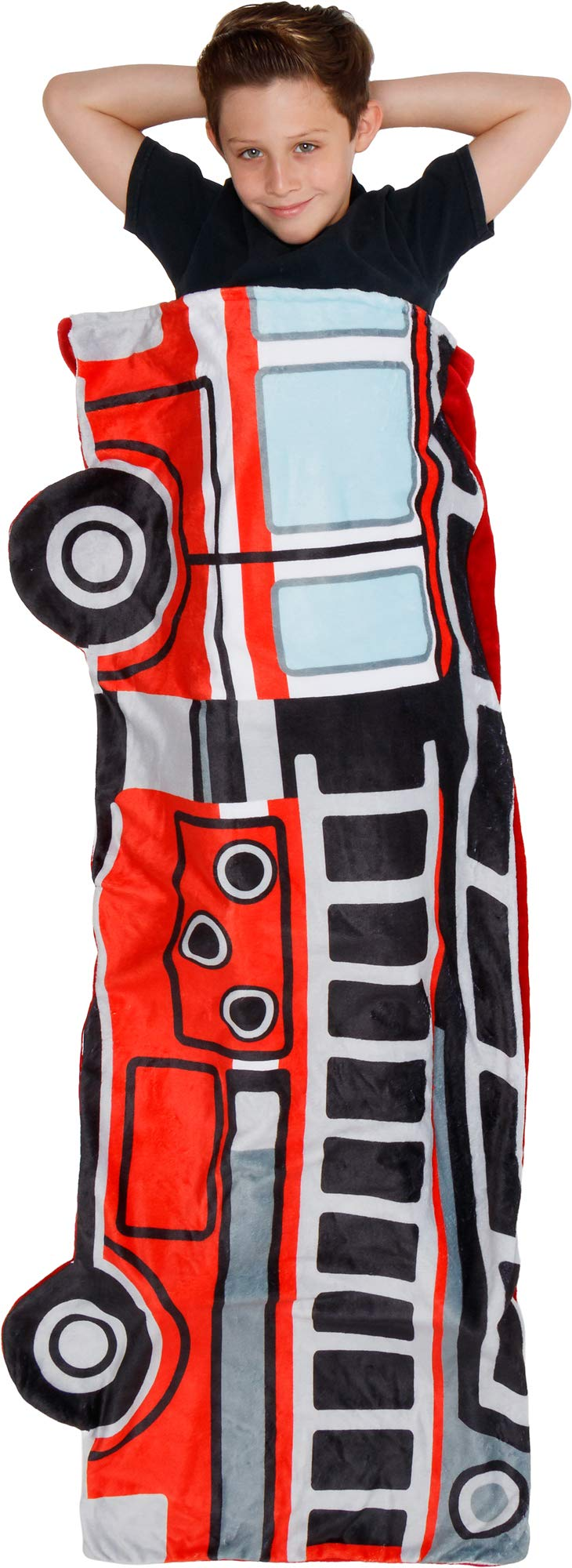 Silver Lilly Fire Truck Sleep Sack - Novelty Wearable Rescue Vehicle Shaped Sleeping Bag Blanket for Kids by Silver Lilly