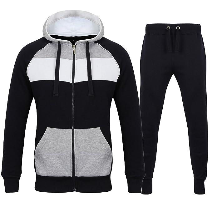 Fabrica Fashion - Chándal para Hombre, Forro Polar, 3 Tonos, con Capucha,