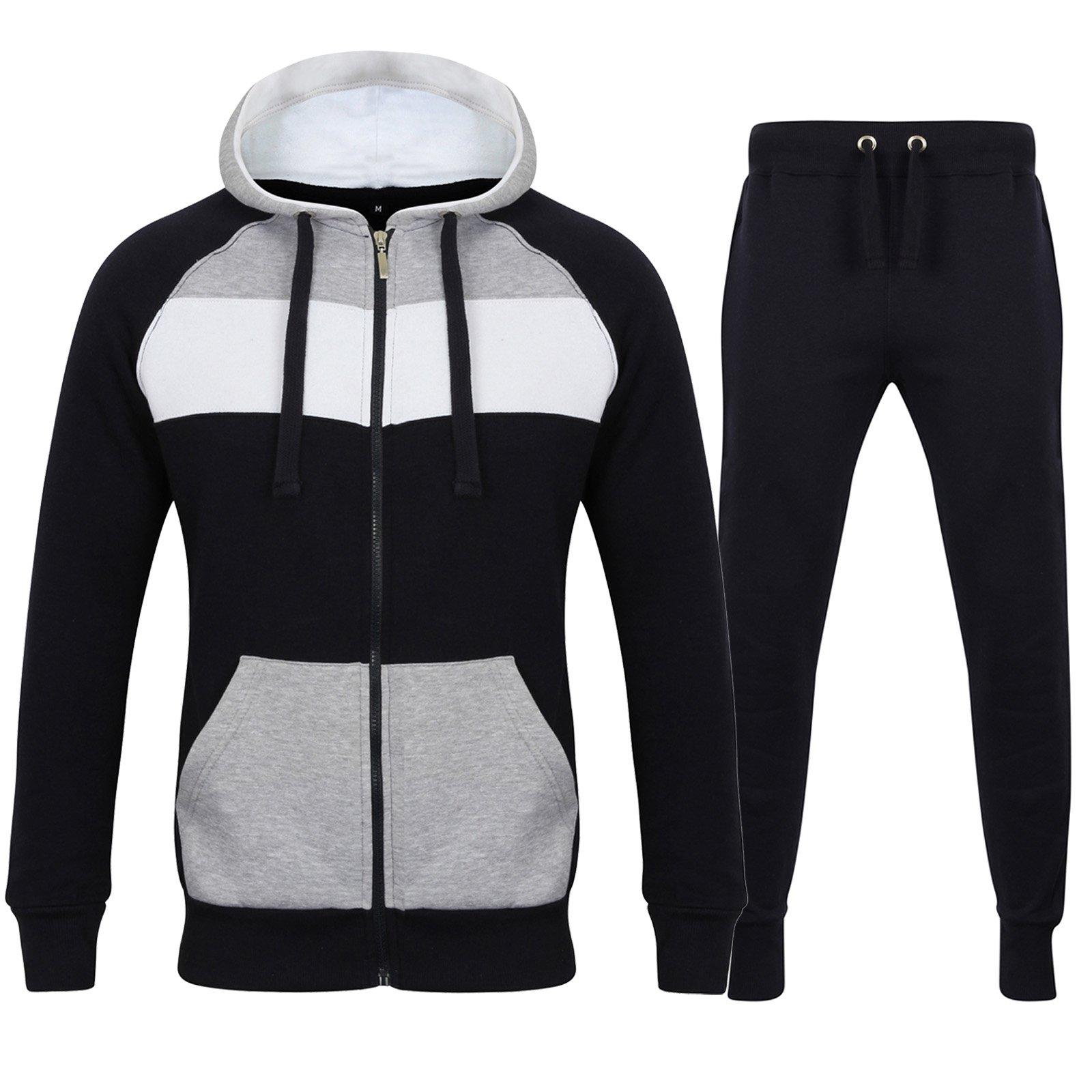 8d1eb8fd0efa6 Fabrica Fashion Complet pour Homme Polaire Uni Survêtement à Fermeture  Éclair Sweat à Capuche Jogging Polaire