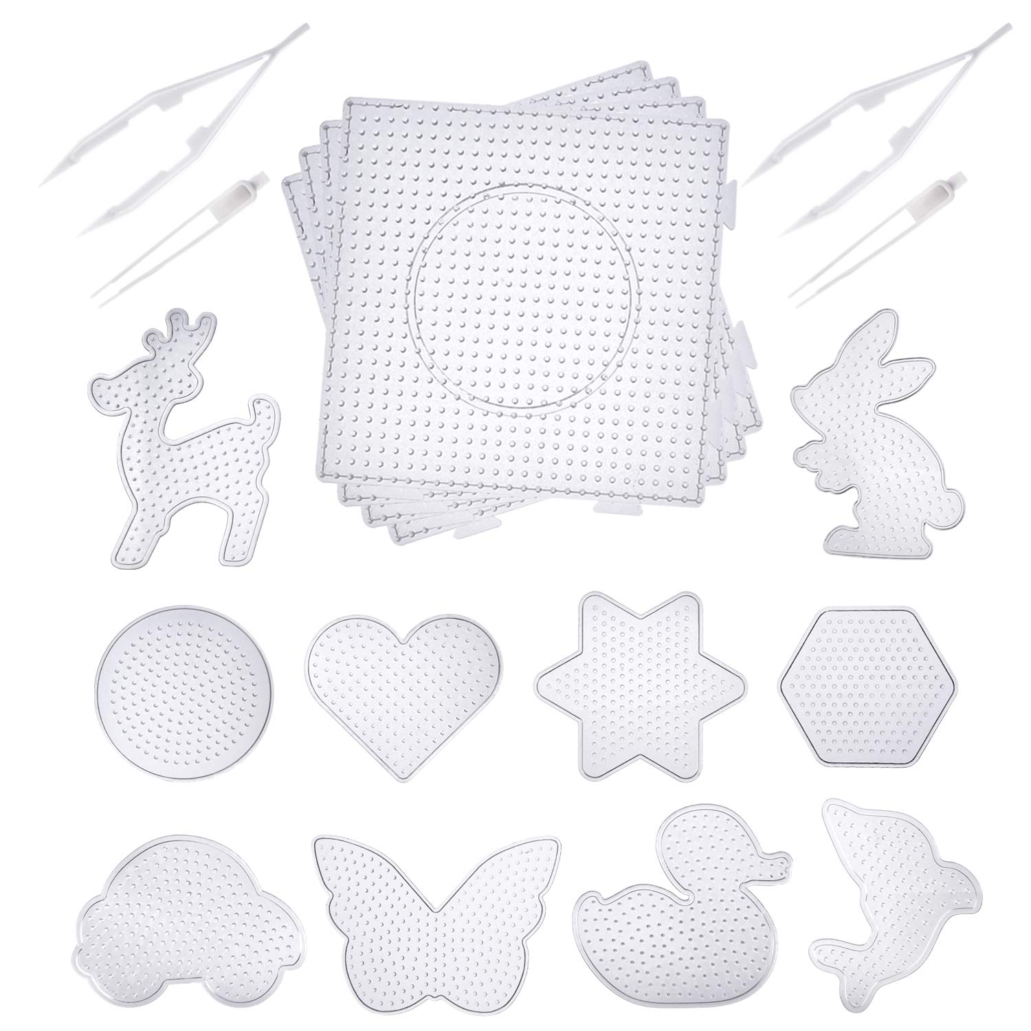 Canomo Fuse Beads Boards 4 Pack 5 mm Large Square Clear Plastic Pegboards 10 Pieces 5 mm Small Cute Fuse Beads Pegboards with 4 Pieces Fuse Bead Tweezers by canomo