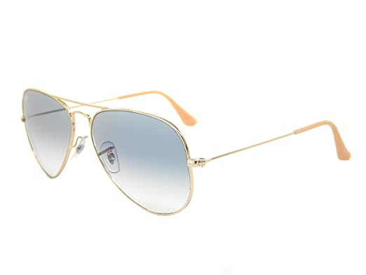 c7660774c6b3 Image Unavailable. Image not available for. Color  Ray Ban Aviator RB3025  001 3F Gold  Light Blue Gradient 58mm Sunglasses