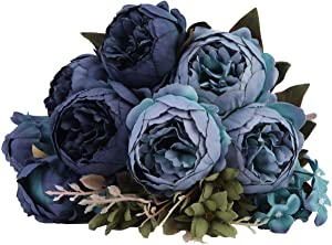 Kimura's Cabin Artificial Peony Silk Flowers Bouquet for Home Wedding Party Decor (Deep Lake Blue)