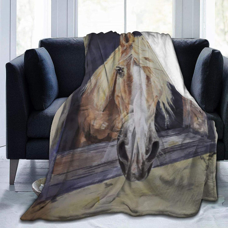 AEMAPE Manta de Tiro, un Caballo asomando la Cabeza por la Ventana, Manta cálida para sofá, Dormitorio, Viaje, Manta de Microfibra