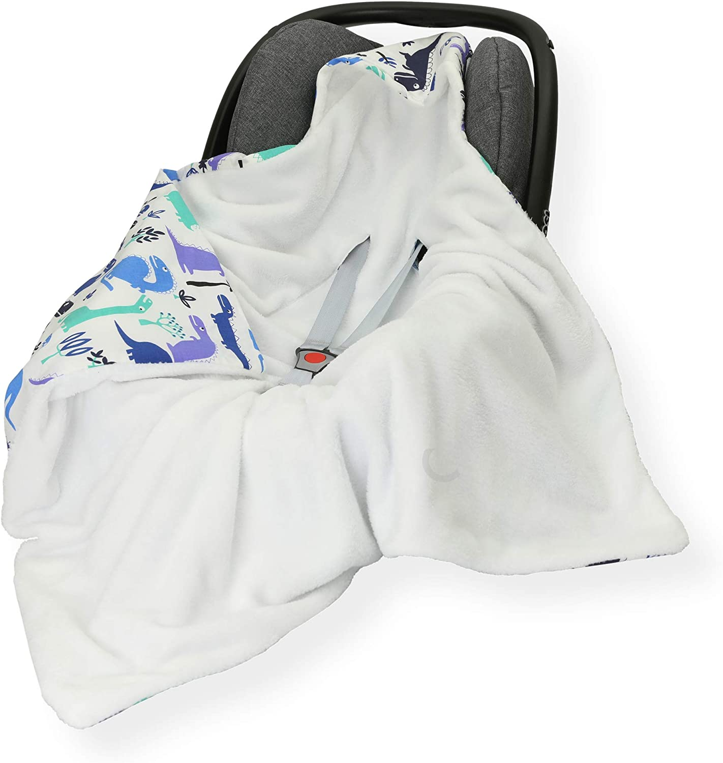 Sided 100 x 100cm Hooded Blanket with SEAT Belt Holes CAR SEAT Blanket//Cover//COSYTOES Peacock//White FOOTMUFF Double