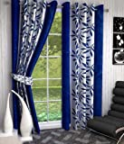 Super India Printed Leaf 2 Piece Polyester Curtain - 7ft, Blue