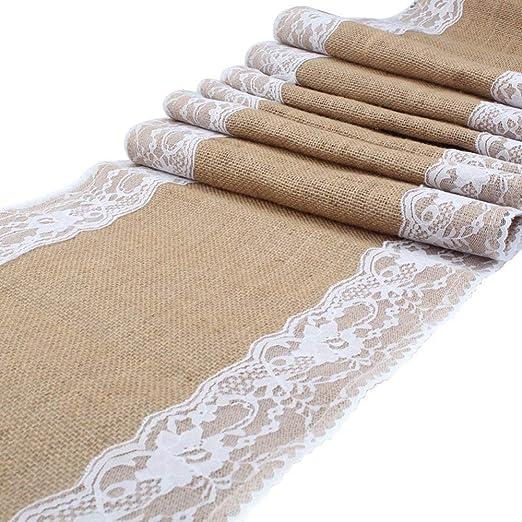 30 x 275 cm tapetes para la mesa de arpillera con encaje tela ...
