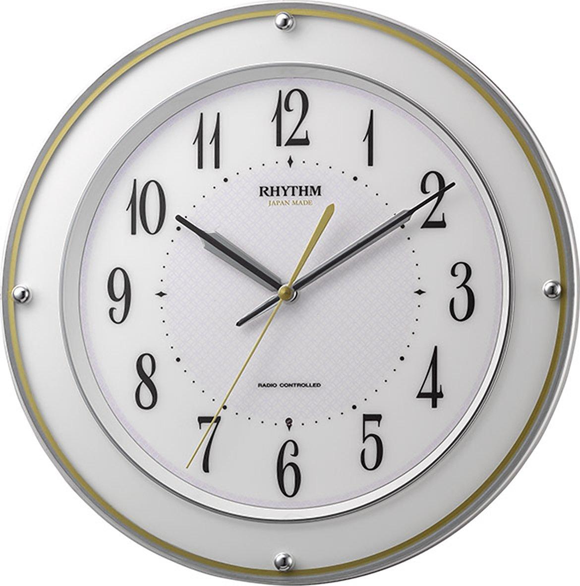 リズム時計 掛け時計 電波 アナログ ミレディサヤカ 【 日本製 】 連続秒針 白 RHYTHM 8MY510SR03 B01LY8L6JK