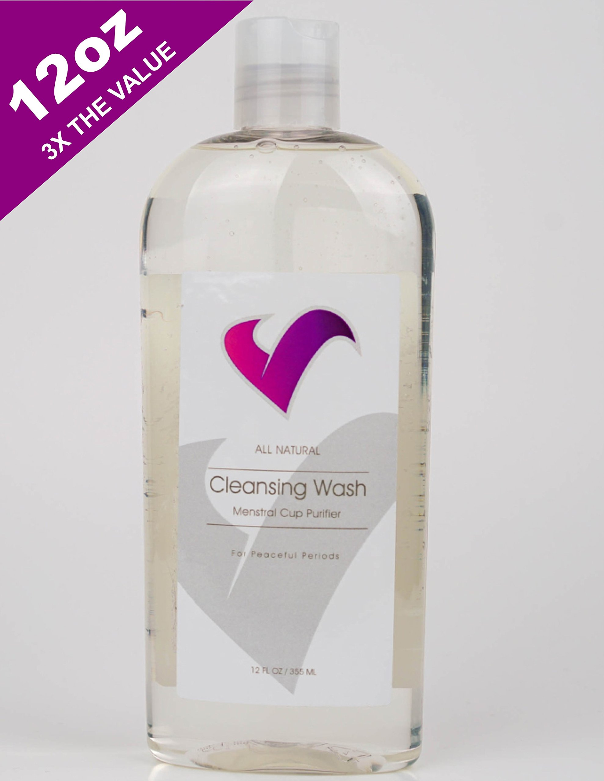 V-CUPS Menstrual Cup Wash Cleaner, Natural, Hypoallergenic, Protect Your Investment, Works on All Brands, 12 oz.