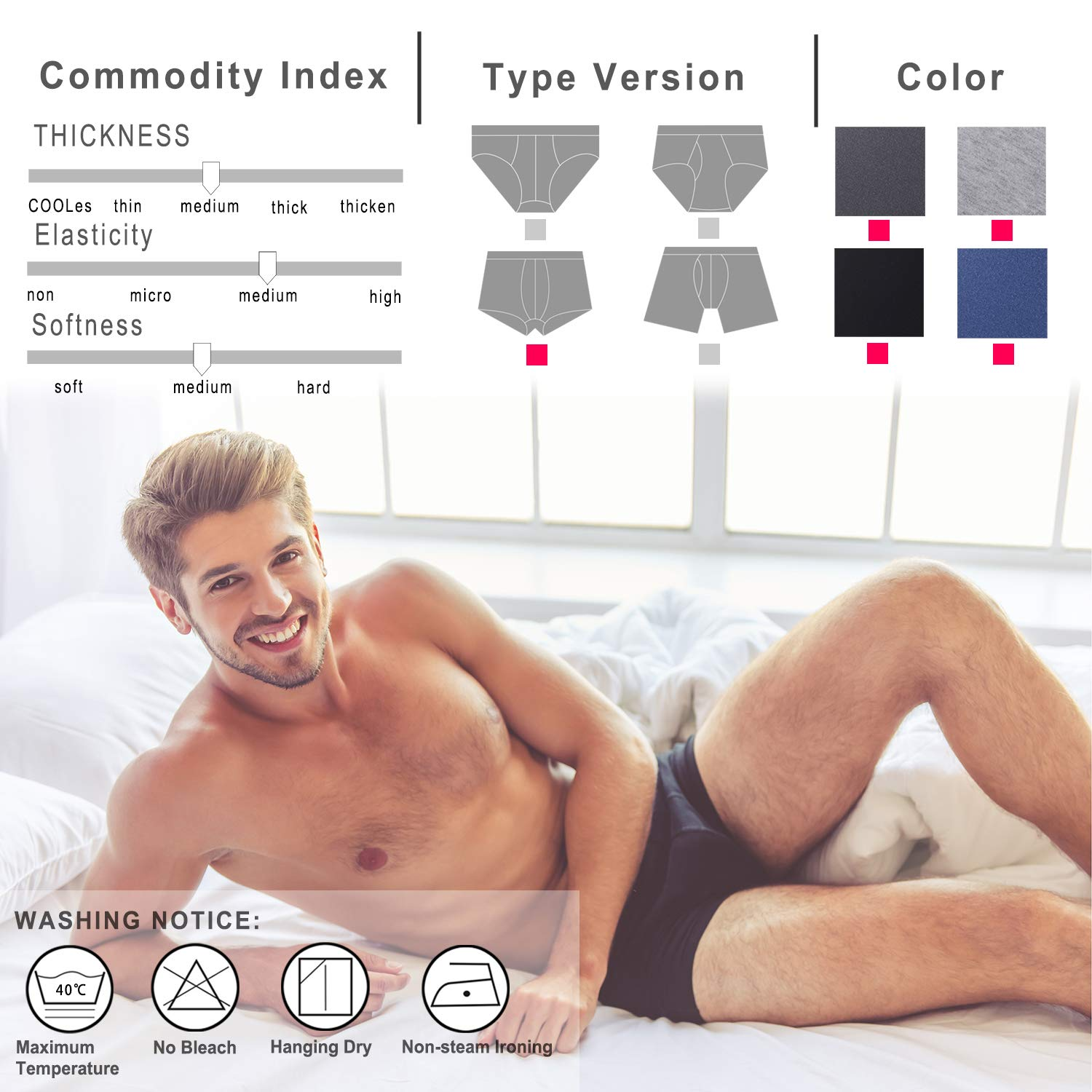 LoBeaus Mens Underwear Trunks No Fly,Boxer Briefs Short Leg Length,Ultimate Soft Cotton 4-Pack or 8-Pack