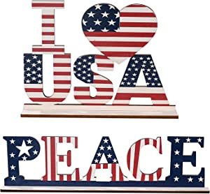 Independence Day Home Table Decoration, Freedom Patriotic Wooden Decorative Plaque 4th of July Letter Sign Blessed Table Centerpiece Dining Room Decor Memorial Day Decorations (Peace+USA)