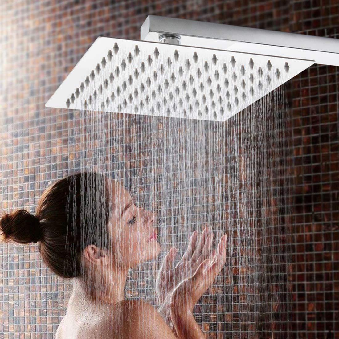 FineInno 8 inch Acero Inoxidable Alcachofa Ducha Alta Presion Shower Head Rociador Ducha Efecto Lluvia Filtro de Cabezal de Ducha, Ultra-Delgado con ...