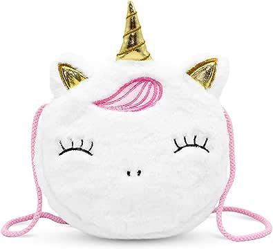 VAMY kids Bolso Unicornio de felpa para niñas y bebés. Tamaño de bolso: 17 x 17 x 4 cm.