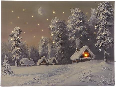 Image Winter Landscape With Led Lighting Christmas Canvas Art Wall Picture 30 X 40 Cm Küche Haushalt
